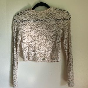Ivory lace long sleeve crop top